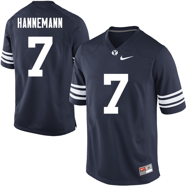 Men #7 Micah Hannemann BYU Cougars College Football Jerseys Sale-Navy