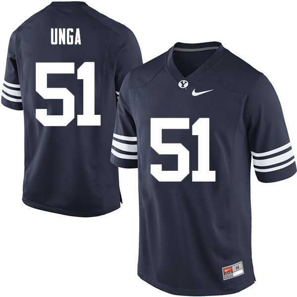 Men #51 Morgan Unga BYU Cougars College Football Jerseys Sale-Navy