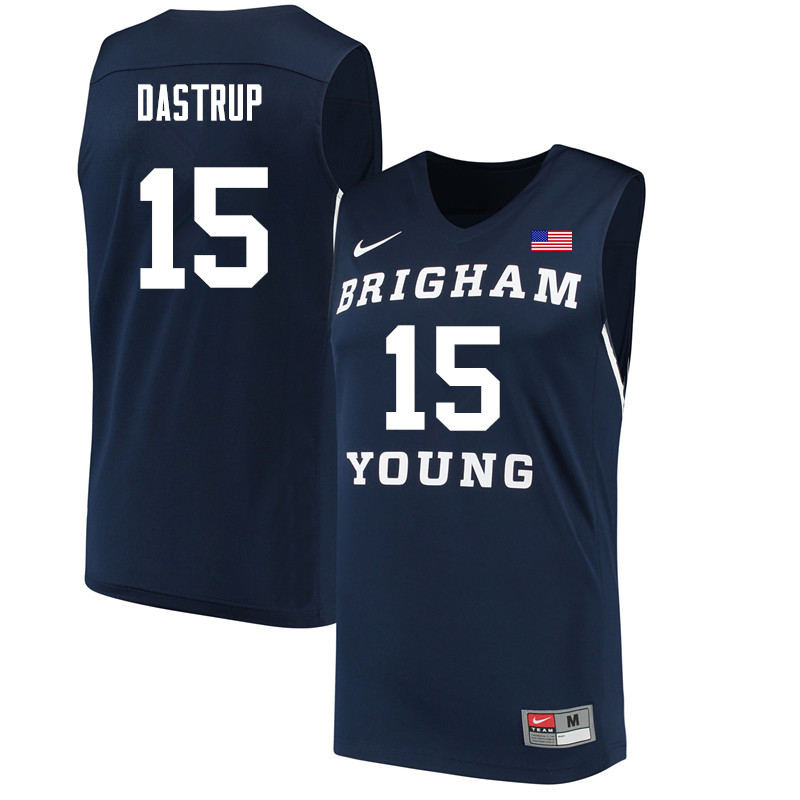 Men #15 Payton Dastrup BYU Cougars College Basketball Jerseys Sale-Navy