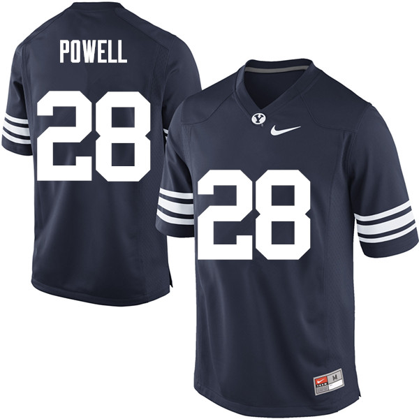 Men #28 Sawyer Powell BYU Cougars College Football Jerseys Sale-Navy