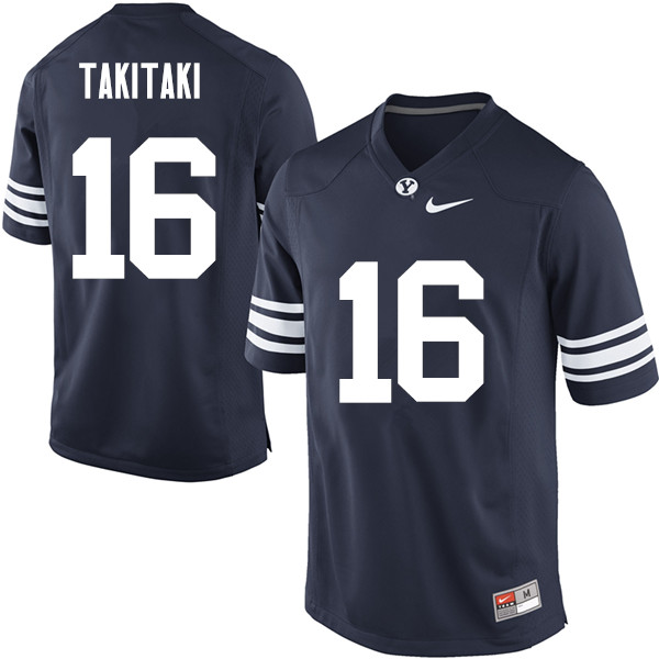 Men #16 Sione Takitaki BYU Cougars College Football Jerseys Sale-Navy