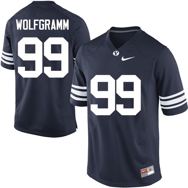 Men #99 Solomone Wolfgramm BYU Cougars College Football Jerseys Sale-Navy