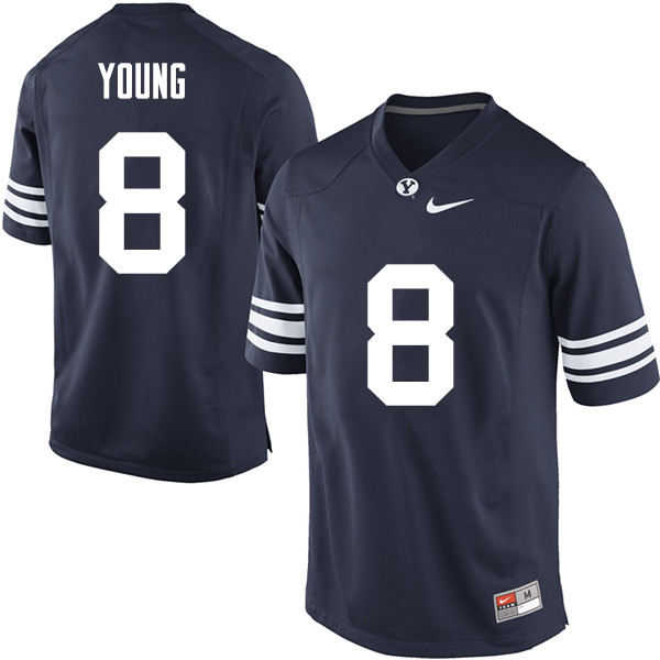 Men #8 Steve Young BYU Cougars College Football Jerseys Sale-Navy