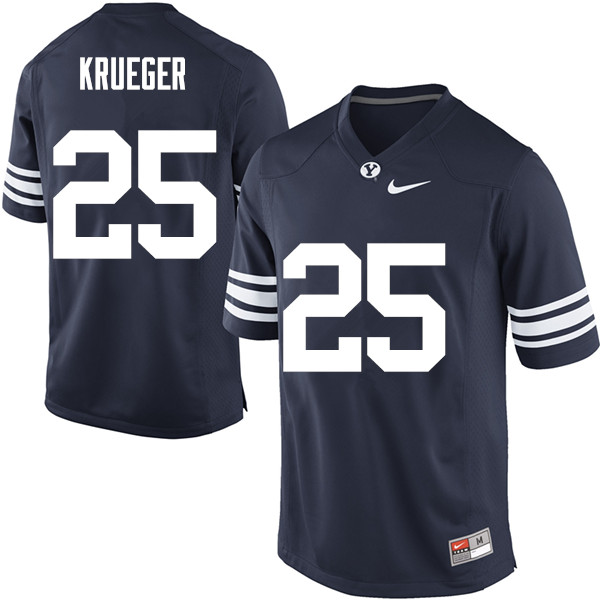 Men #25 Taggart Krueger BYU Cougars College Football Jerseys Sale-Navy