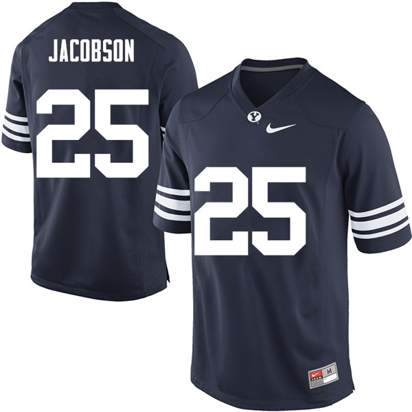 Men #25 Tanner Jacobson BYU Cougars College Football Jerseys Sale-Navy