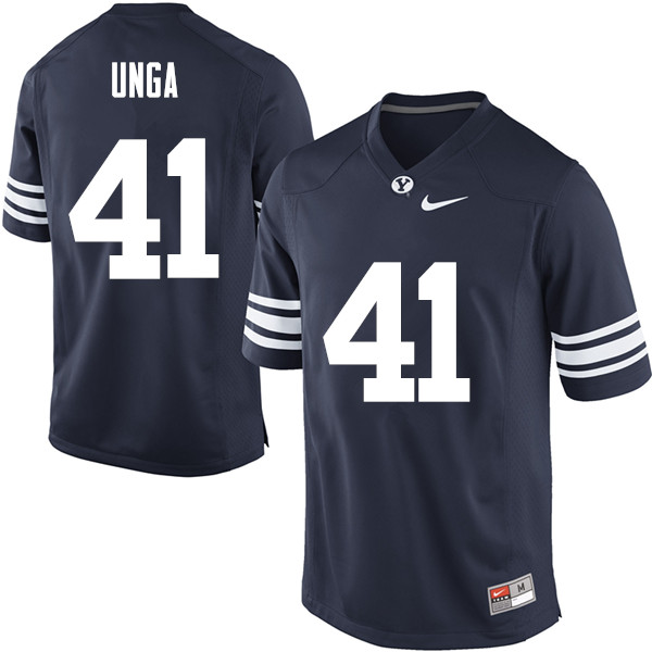 Men #41 Uani Unga BYU Cougars College Football Jerseys Sale-Navy