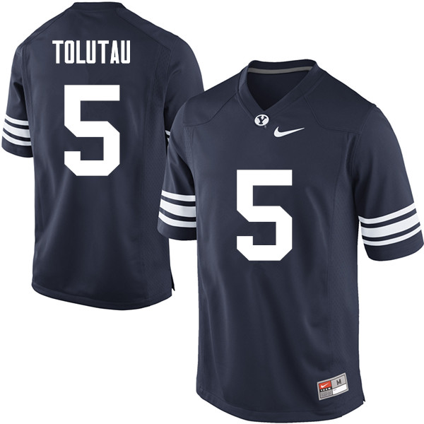 Men #5 Ula Tolutau BYU Cougars College Football Jerseys Sale-Navy