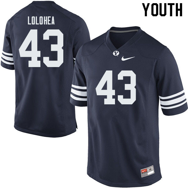 Youth #43 A.J. Lolohea BYU Cougars College Football Jerseys Sale-Navy