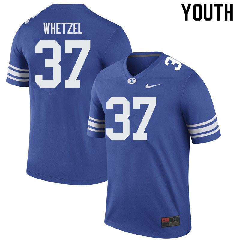 Youth #37 Austin Whetzel BYU Cougars College Football Jerseys Sale-Royal