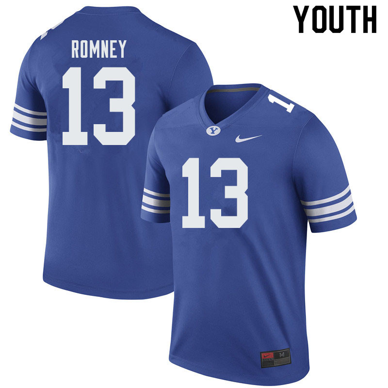 Youth #13 Baylor Romney BYU Cougars College Football Jerseys Sale-Royal