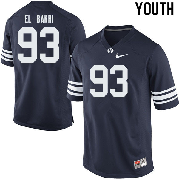 Youth #93 Bracken El-Bakri BYU Cougars College Football Jerseys Sale-Navy