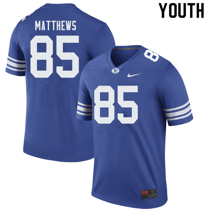 Youth #85 Bret Matthews BYU Cougars College Football Jerseys Sale-Royal
