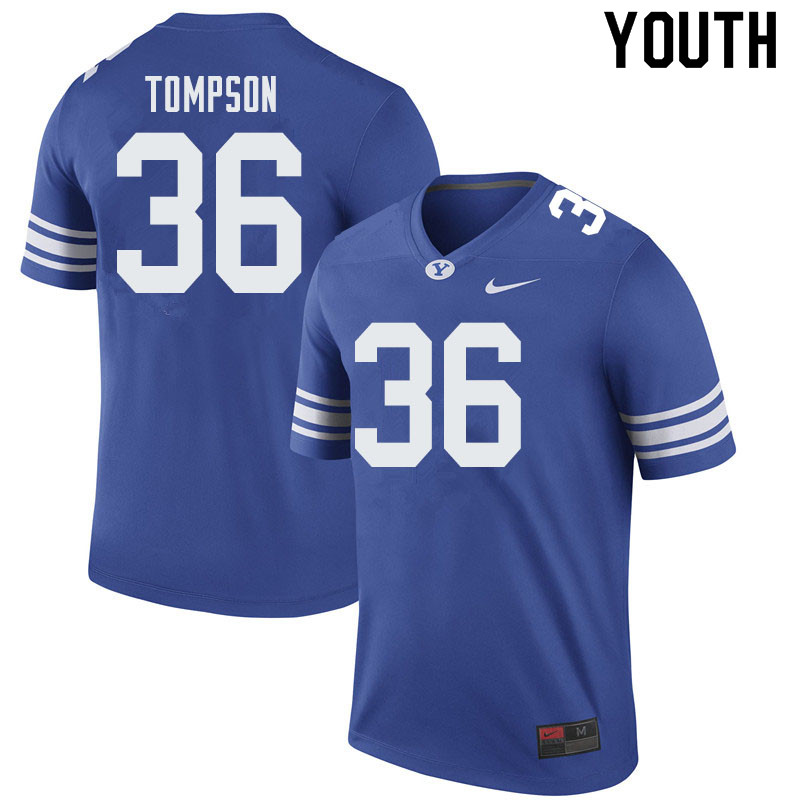 Youth #36 Colin Tompson BYU Cougars College Football Jerseys Sale-Royal