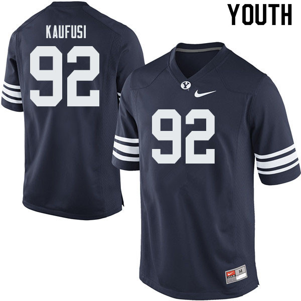 Youth #92 Devin Kaufusi BYU Cougars College Football Jerseys Sale-Navy