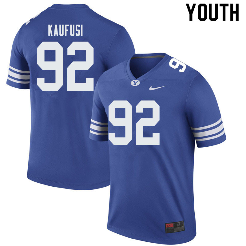 Youth #92 Devin Kaufusi BYU Cougars College Football Jerseys Sale-Royal