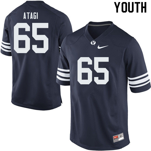 Youth #65 Ethan Atagi BYU Cougars College Football Jerseys Sale-Navy