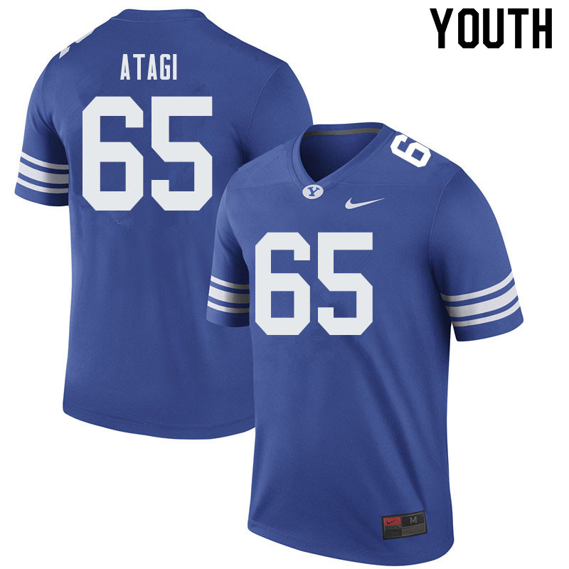 Youth #65 Ethan Atagi BYU Cougars College Football Jerseys Sale-Royal