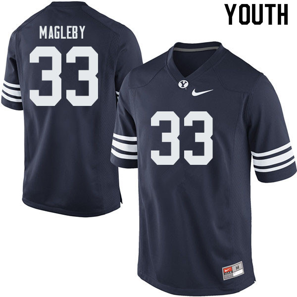 Youth #33 Grayson Magleby BYU Cougars College Football Jerseys Sale-Navy