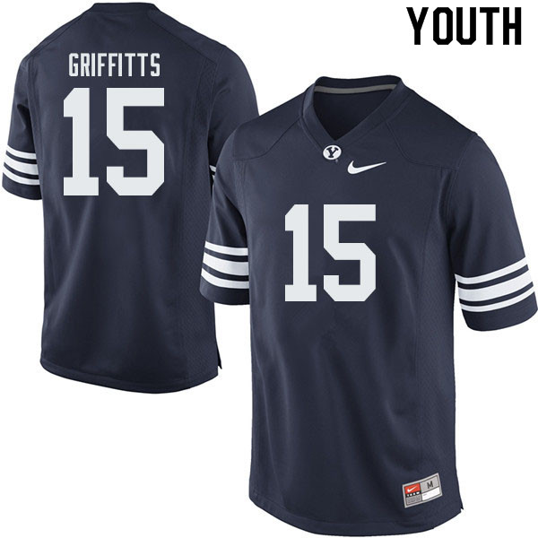 Youth #15 Hayden Griffitts BYU Cougars College Football Jerseys Sale-Navy