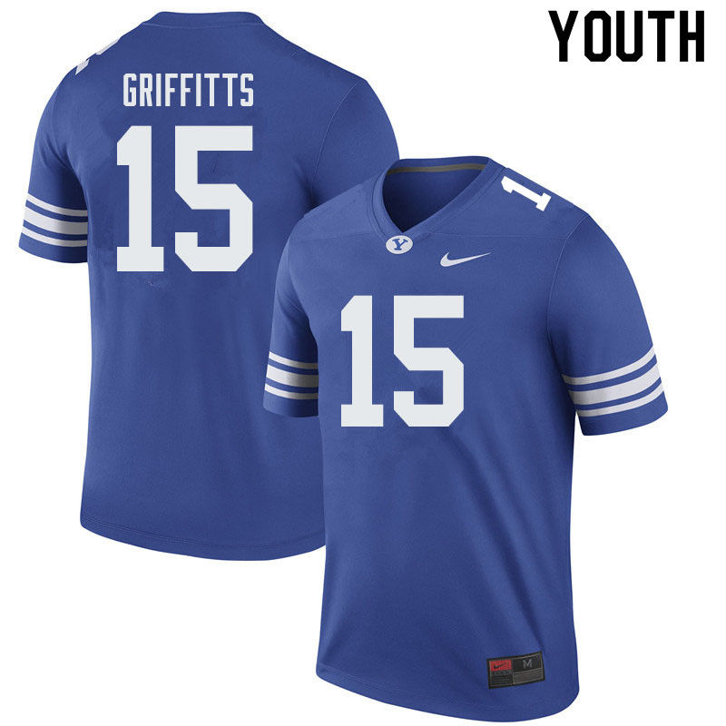 Youth #15 Hayden Griffitts BYU Cougars College Football Jerseys Sale-Royal
