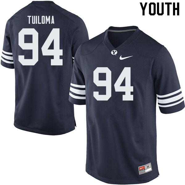 Youth #94 Jeddy Tuiloma BYU Cougars College Football Jerseys Sale-Navy