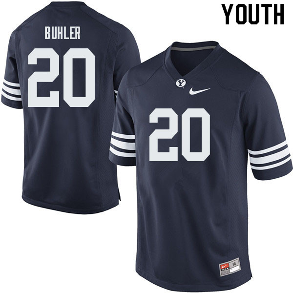 Youth #20 Joshua Buhler BYU Cougars College Football Jerseys Sale-Navy