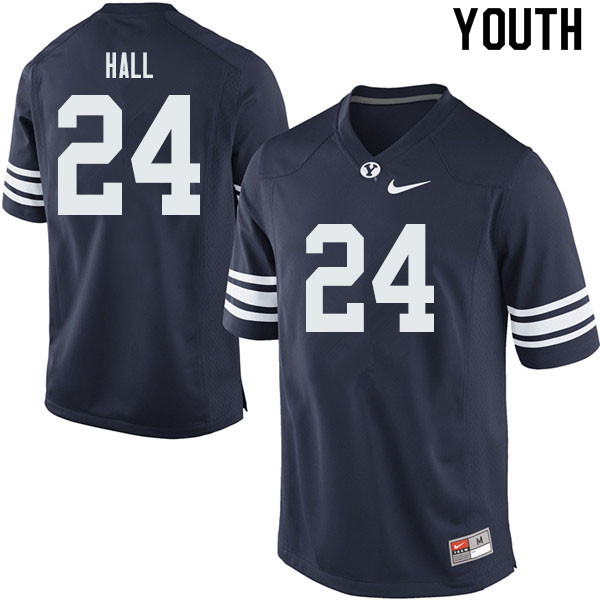 Youth #24 KJ Hall BYU Cougars College Football Jerseys Sale-Navy