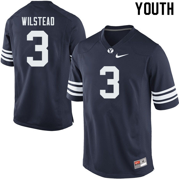 Youth #3 Kody Wilstead BYU Cougars College Football Jerseys Sale-Navy