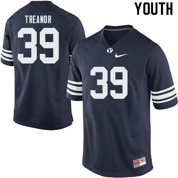 Youth #39 Matthew Treanor BYU Cougars College Football Jerseys Sale-Navy