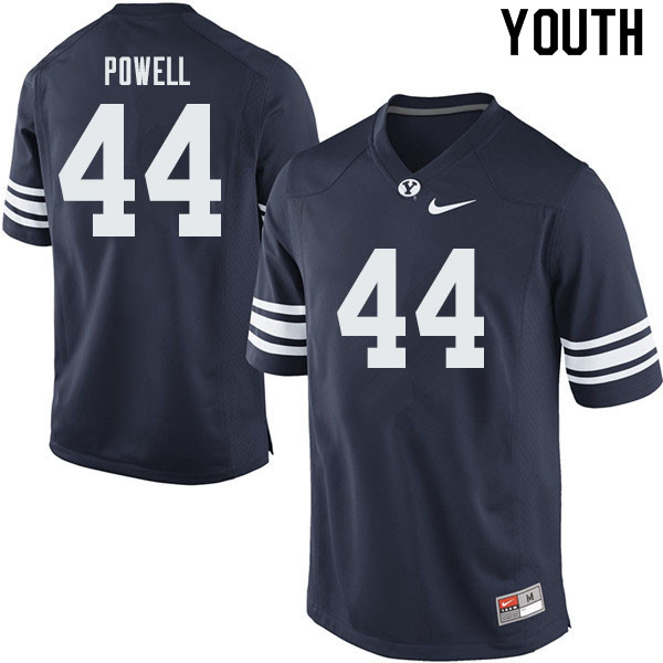 Youth #44 Riggs Powell BYU Cougars College Football Jerseys Sale-Navy