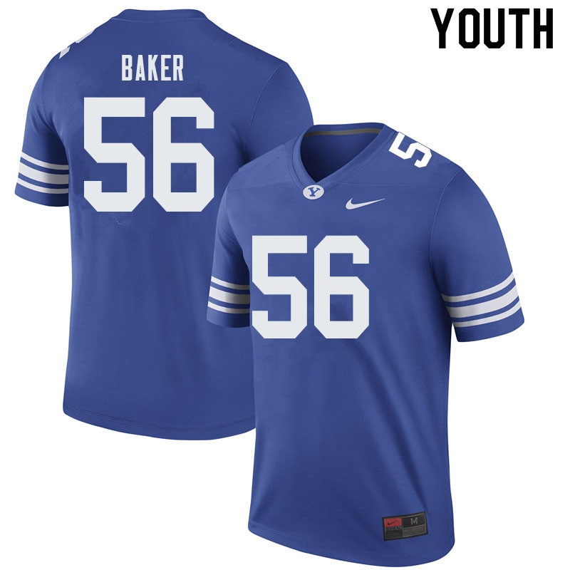 Youth #56 Tanner Baker BYU Cougars College Football Jerseys Sale-Royal