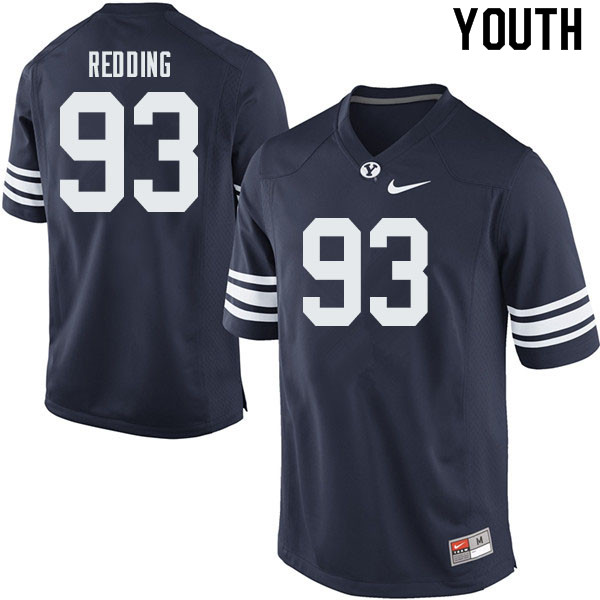 Youth #93 Tanner Redding BYU Cougars College Football Jerseys Sale-Navy