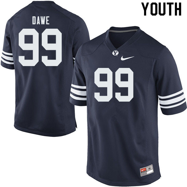 Youth #99 Zac Dawe BYU Cougars College Football Jerseys Sale-Navy