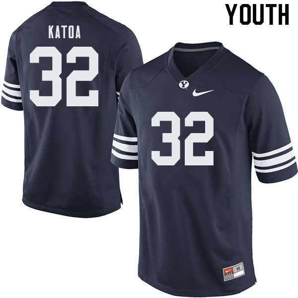 Youth #32 Zach Katoa BYU Cougars College Football Jerseys Sale-Navy