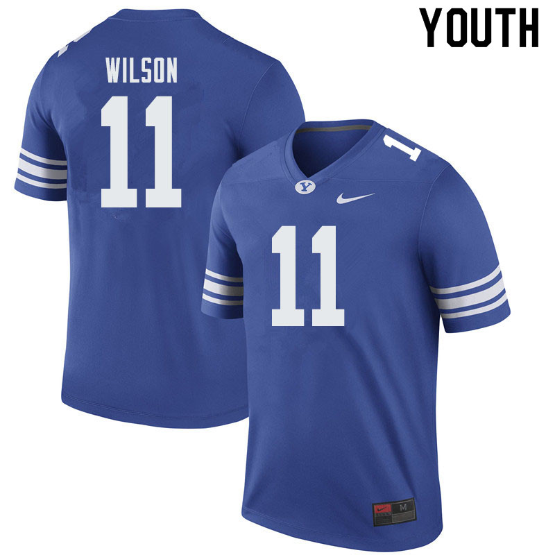 Youth #11 Zach Wilson BYU Cougars College Football Jerseys Sale-Royal