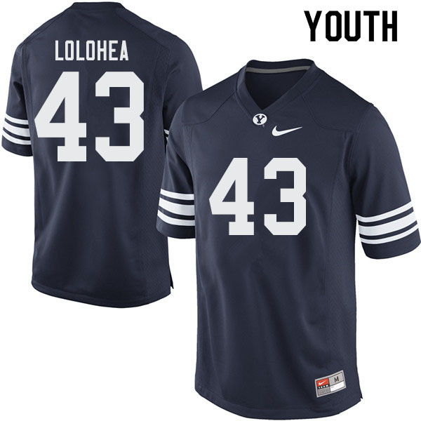 Youth #43 AJ Lolohea BYU Cougars College Football Jerseys Sale-Navy