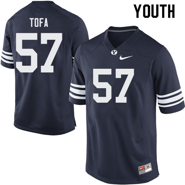Youth #57 Alden Tofa BYU Cougars College Football Jerseys Sale-Navy