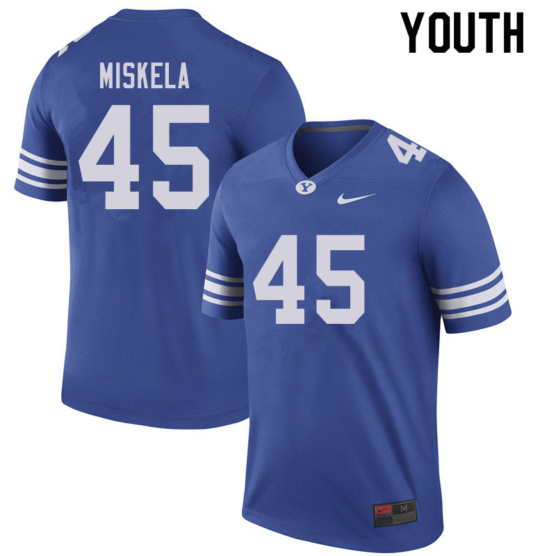 Youth #45 Alex Miskela BYU Cougars College Football Jerseys Sale-Royal