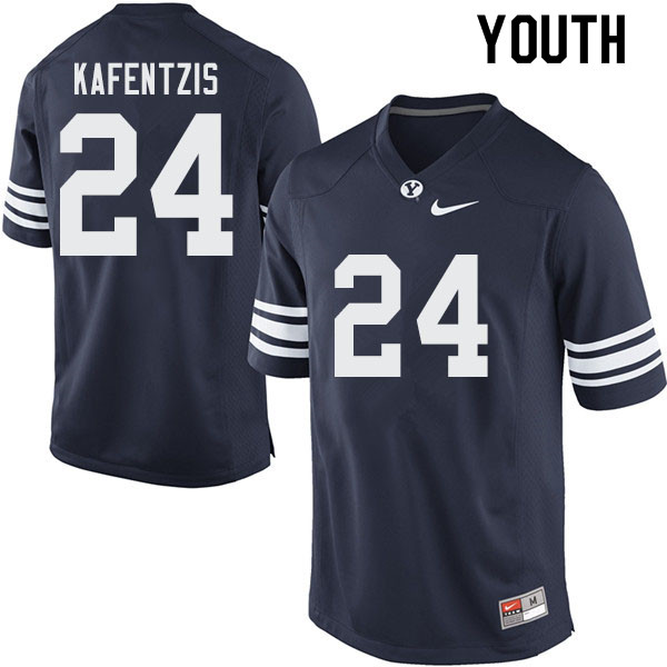 Youth #24 Austin Kafentzis BYU Cougars College Football Jerseys Sale-Navy