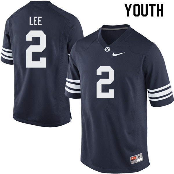 Youth #2 Austin Lee BYU Cougars College Football Jerseys Sale-Navy