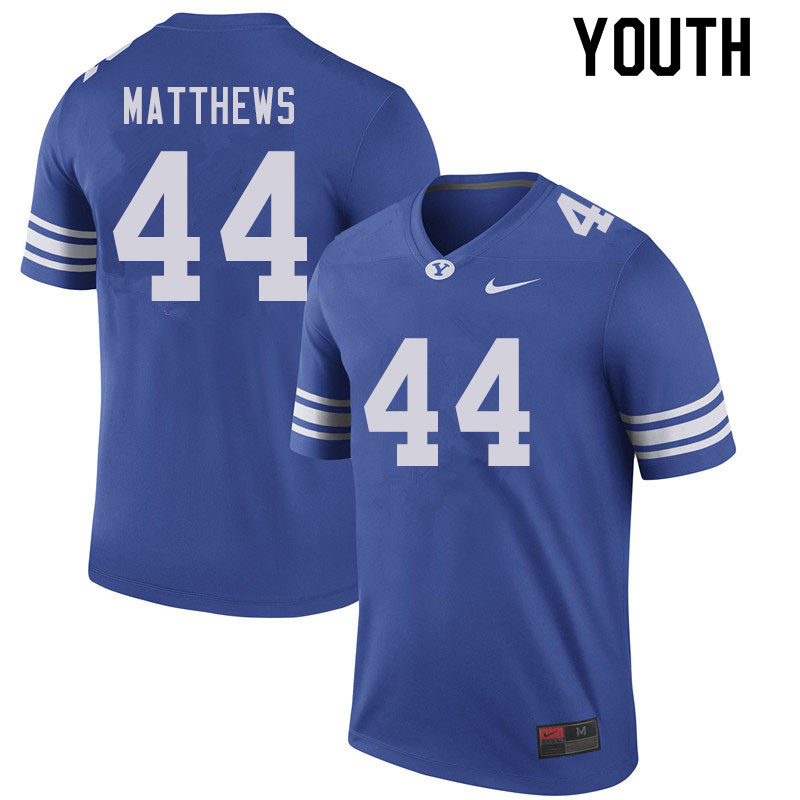 Youth #44 Bret Matthews BYU Cougars College Football Jerseys Sale-Royal
