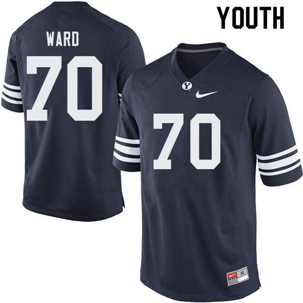 Youth #70 Brevan Ward BYU Cougars College Football Jerseys Sale-Navy