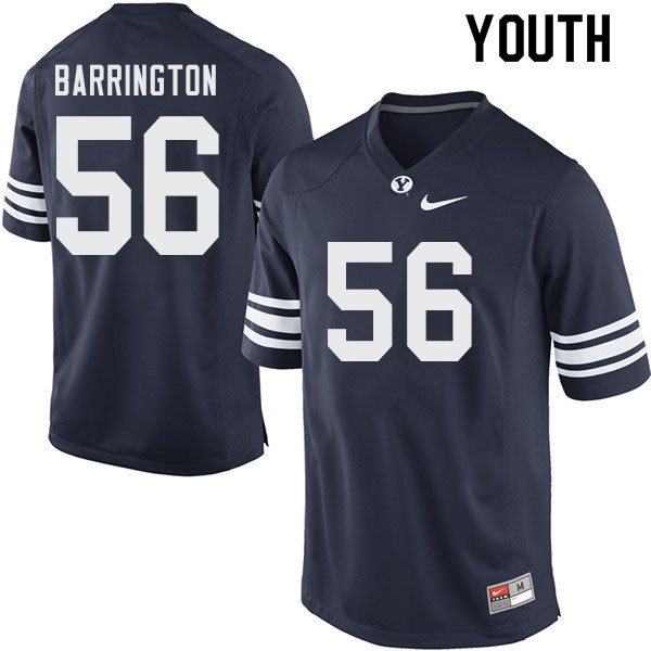 Youth #56 Clark Barrington BYU Cougars College Football Jerseys Sale-Navy