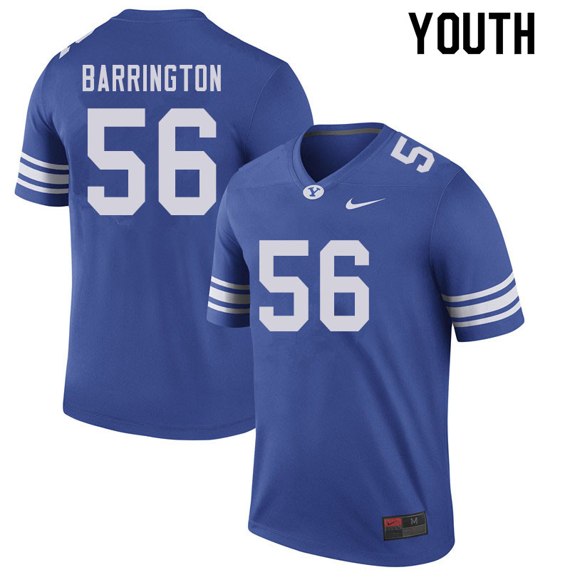 Youth #56 Clark Barrington BYU Cougars College Football Jerseys Sale-Royal