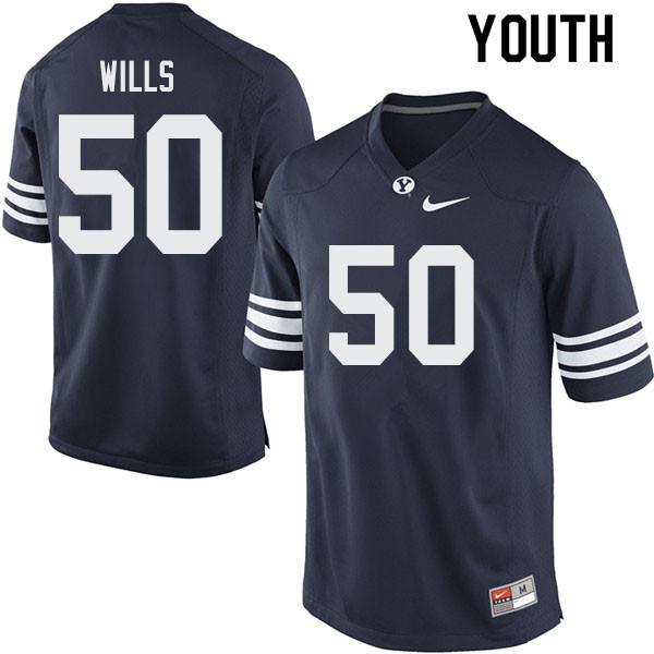 Youth #50 Connor Wills BYU Cougars College Football Jerseys Sale-Navy