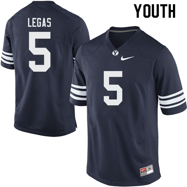 Youth #5 Gunnar Legas BYU Cougars College Football Jerseys Sale-Navy
