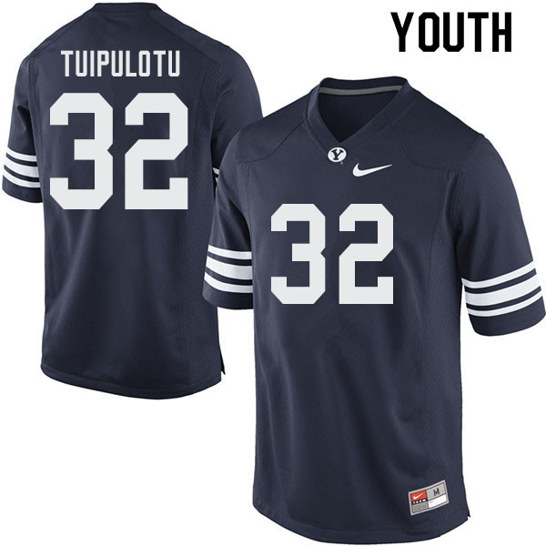Youth #32 Hank Tuipulotu BYU Cougars College Football Jerseys Sale-Navy