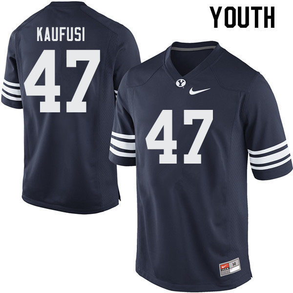 Youth #47 Jackson Kaufusi BYU Cougars College Football Jerseys Sale-Navy