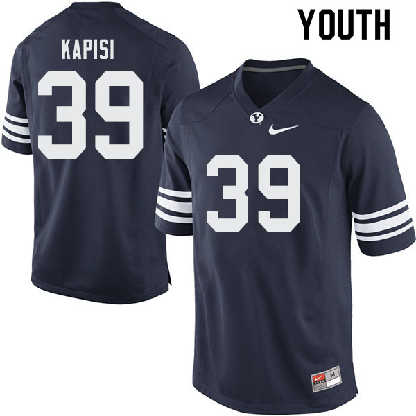 Youth #39 Jared Kapisi BYU Cougars College Football Jerseys Sale-Navy