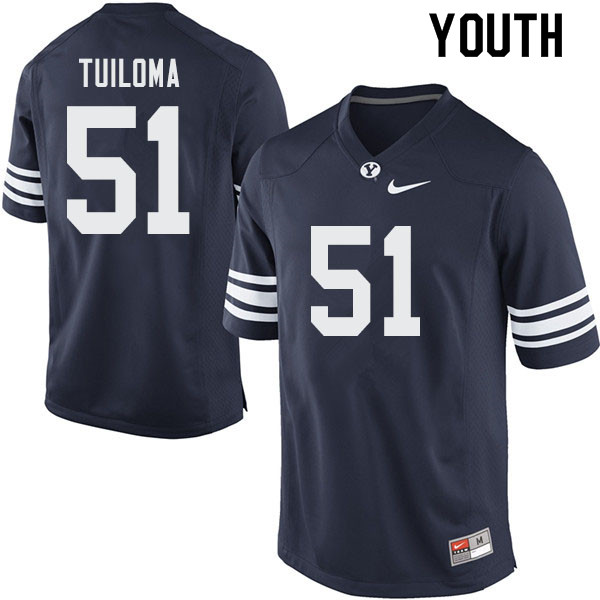 Youth #51 Jeddy Tuiloma BYU Cougars College Football Jerseys Sale-Navy
